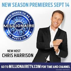 """More suspense. More excitement. More serious gameplay. It's """"Who Wants To Be A Millionaire"""" with new host Chris Harrison. Season Premiere Monday, September 14. Paste this link into your browser to see the first preview now: http://youtu.be/FEpWSy9fsqs. Then go to www.millionairetv.com for local time and channel to watch the new #MillionaireTV season."""