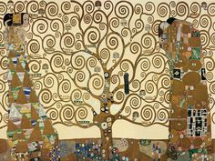 The Stoclet frieze of three mosaic panels by Gustav Klimt, 1905-11. The panels depict a swirling tree of life, a standing female figure and an embracing couple