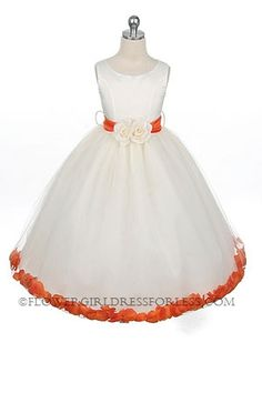 Flower Girl Dress Style 152-Choice of White or Ivory Dress with Orange Sash and Petals