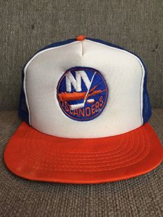 Vtg New York Islanders Mesh Trucker Hat 90 s Retro NHL Hockey Snap Back NY   fa0e143e3c63