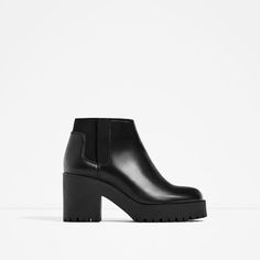 Image 2 of LEATHER ANKLE BOOTS WITH TRACK SOLE from Zara