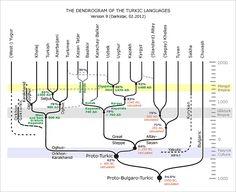 A phylogenetic tree of Turkic languages: Khalj, Turkish, Azeri, Turkmen, Kazan Tatar, Bashkir, Karachay-Balkar, Uzbek, Uyghur, Kyrgyz, Altai, Khakas, Tuvan,  Sakha, Chuvash