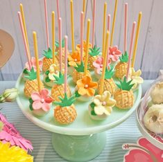 Pineapple cake pops from Spring Flamingo Birthday Party at Kara's Party Ideas. See more at karaspartyideas.com!