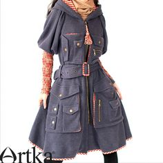 Artka Women's Limited Edition Vintage Spring Autumn Pink Wild Rose Multiple Pockets Aulic Long Sleeve Hood Trench Coat Dark Purple Tunic A09231 via Artka. Click on the image to see more!