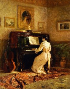 Girl at the Piano with Laura Porto ~ Theodore Clement Steele ~ (1847-1926)