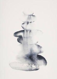"Saatchi Art Artist Jennifer Thangavelu; Painting, ""Virga Cairn"" gray stone watercolor #art Spiritual Transformation, Grey Stone, Saatchi Art, Original Paintings, Watercolor, Sculpture, Abstract, Artist, Pen And Wash"