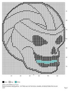 SKULL VOLLEYBALL by TRICIA -- WALL HANGING 2/2