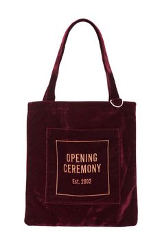 Opening Ceremony, OC Velour Eco Bag , Front pocket with embroidered logo, Metal keyring at handle base, Interior pocket, Fully lined, 100% polyester, Imported