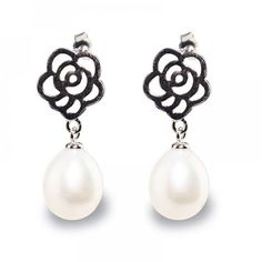 Rose Drop PearlEarrings - Timeless Pearl ($29) ❤ liked on Polyvore featuring jewelry, earrings, pearl earrings jewellery, rose jewelry, rose jewellery, pearl earrings and earring jewelry
