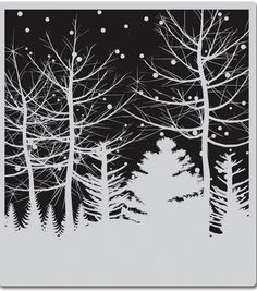 Hero Arts Cling Stamps Snowy Winter Nights - positive/negative, silhouette