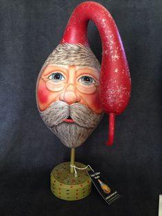 Gourd Santa Head on Pedestal by POPLARHOLLOWSTUDIO on Etsy