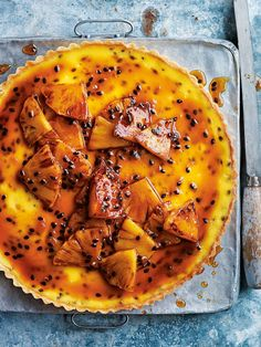 passionfruit tart with caramelised rum pineapple from donna hay summer issue #85