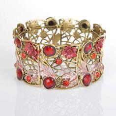 The Rustic Shop - Red Flower, Rhinestone, and Gemstone Open Cuff Bracelet, $7.99 (http://www.therusticshop.com/red-flower-rhinestone-and-gemstone-open-cuff-bracelet/)