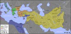 Χάρτης όπου εικονίζεται η έκταση της Αυτοκρατορίας των Σελευκιδών (με κίτρινο χρώμα).
