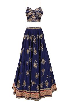 Navy blue and coral pink dabka embroidered lehenga set available only at Pernia's Pop Up Shop.