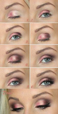 Pretty pink eyes tutorial.