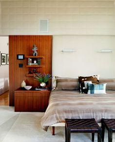Santa Monica Canyon master bedroom with Calvin Klein bedding and Christopher Farr rug.