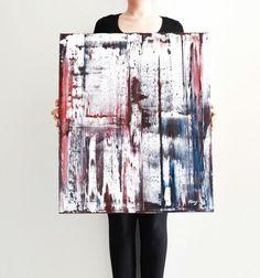 Verniciato rosso bianco blu colori arte e di NatalieCugArt su Etsy