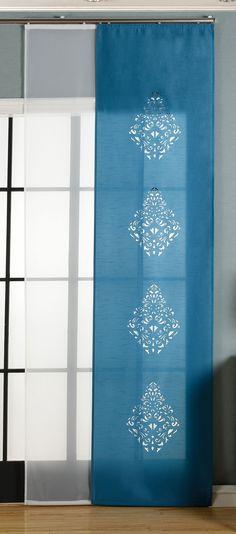 Schiebegardine blickdicht Digitaldruck Pinselstrich blau grün 60cm x 245cm