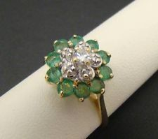 10K YELLOW GOLD GENUINE EMERALD DIAMOND RING SIZE 6 COCKTAIL CLUSTER FLOWER