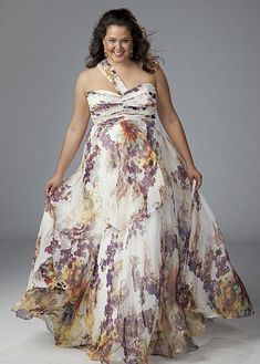 Sydneys Closet Floral Print Chiffon Plus Size Prom Dress SC7047 at frenchnovelty.com