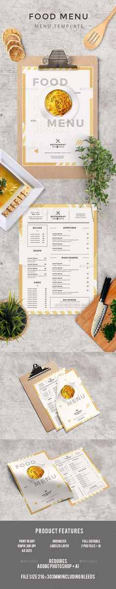 Food Menu — Photoshop PSD #print template #brochure • Download ➝ https://graphicriver.net/item/food-menu/18864885?ref=pxcr