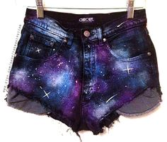 SALE Galaxy print high-waisted denim shorts, tumblr shorts, hipster clothes, high waist coachella shorts on Etsy, $25.00