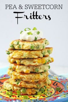 With just a few store cupboard essentials you can make these really tasty Pea & Sweetcorn Fritters in minutes. Great finger food for my weaning baby. Greek Recipes, Pork Recipes, Lunch Recipes, Baby Food Recipes, Slow Cooker Recipes, Mexican Food Recipes, Vegan Recipes, Cooking Recipes, Curry Recipes
