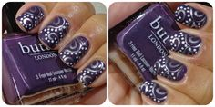 Purple with silver stamping and white dotting.