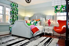 Our focus for August is kid rooms over at DecorGirl.net. We are starting with our inspiration room from Lucy and Company. Great colors, fresh, modern, inspiring and with personality.