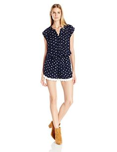 4a1a53f16fd Amazon.com  Collective Concepts Women s Printed Romper with Lace Detail   Clothing