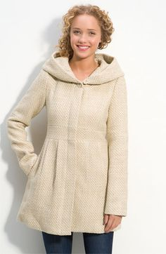 Coffee Shop Textured Hooded Coat (Juniors) | Nordstrom - StyleSays