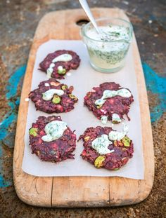 Beetroot and Cumin Fritters with Horseradish and Dill Yoghurt. A delicious vegan recipe from Lee Watson's Peace and Parsnips.