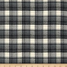 Kaufman Mammoth Flannel Plaid Smoke from @fabricdotcom  Designed for Robert Kaufman Fabrics, this soft double napped (brushed on both sides) medium weight (6.4 oz per square yard) flannel is perfect for shirts, loungewear and more! The flannel is a yarn dyed plaid of ivory, tan, grey and black. Remember to allow extra yardage for pattern matching.
