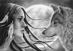 Espíritus de travesía Luna chica mujer India nativa lobo Emo