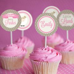 Sleepover Party Cupcake Toppers - Tween Girls - Sleep Over Party Cupcakes - Slumber Party Toppers - Tea Party Cupcakes, Bridal Shower Cupcakes, Baby Shower Cupcake Toppers, Cumpleaños Shabby Chic, Chabby Chic, Shabby Chic Cupcakes, Simple Bridal Shower, Bridal Showers, Carousel Party