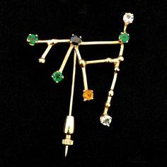 Custom Capricorn Brooch 14K gold Gemstones Astrology Constellation Pin #Custom