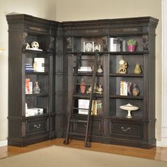 Want to buy a library bookcase wall unit at a reasonable price? Warehouse Direct USA offers Parker House Grand Manor Palazzo Corner Museum Bookcase in Burnished Blackat off. It is designed to suit every kind of interiors and make the living area l Library Corner, Library Wall, Library Ideas, Corner Wall, Entertainment Center Furniture, Bookcase Shelves, Bookcases, Library Bookshelves, Shelving