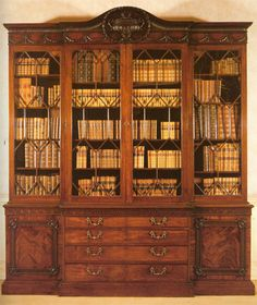Chipendale Style Bookcase.  Mahogany with Brass Hardware.