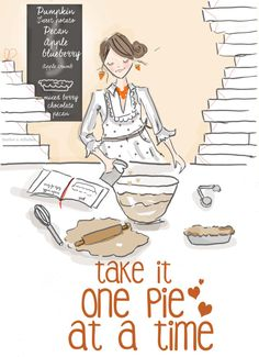 One Pie at a Time Thanksgiving Cards Art door RoseHillDesignStudio