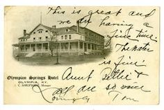 Olympian Springs Hotel Olympia, Ky. J.C. Shropshire, Manager :: Ronald Morgan Postcard Collection, Bath County, Kentucky, vintage summer resort