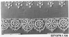 Needle lace Edging, Italian or French late 16C. No fiber type listed.