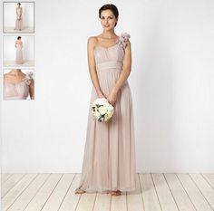 Rose appliqued floral one shoulder dress