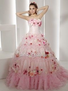 пышные платья без бретелек средний шлейф  розовый свадебные платья B4