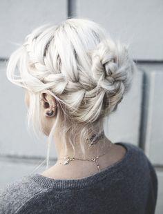 Beautiful white braided loose bun