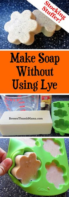 Kids Health There's an answer for us scaredy-cat soapmakers who don't want to use caustic lye when making soap! This method is easy and safe to do with Homemade Christmas Gifts, Homemade Gifts, Soap Making Supplies, Homemade Soap Recipes, Soap Making Recipes, Soap Molds, Lye Soap, Castile Soap, Glycerin Soap