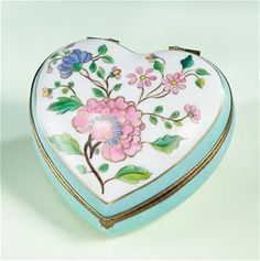 Limoges Chamart Turquoise Heart Pink Blossom Box The Cottage Shop