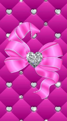By Artist Unknown. Bow Wallpaper Iphone, Bling Wallpaper, Pretty Phone Wallpaper, Heart Wallpaper, Pretty Wallpapers, Love Wallpaper, Cellphone Wallpaper, Wallpaper Backgrounds, Everything Pink