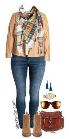 Plus Size Blanket Scarf Outfit - Plus Size Fashion for Women - alexawebb.com