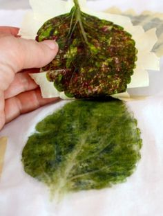 Eco print made by hammering leaves, mini tutorial.: